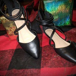 Black Strappy Flats